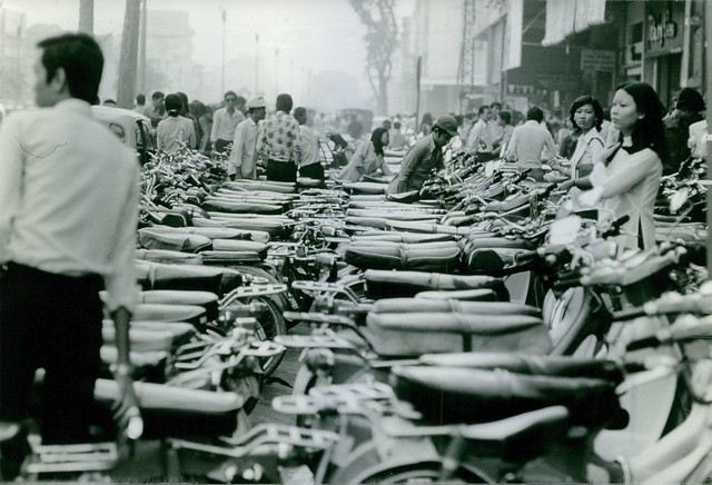 SAIGON 1972 - People standing in one of the streets in Saigon