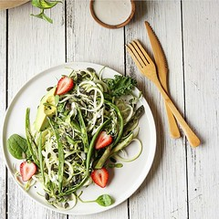 Zucchini, bean and asparagus slaw with creamy tahi…