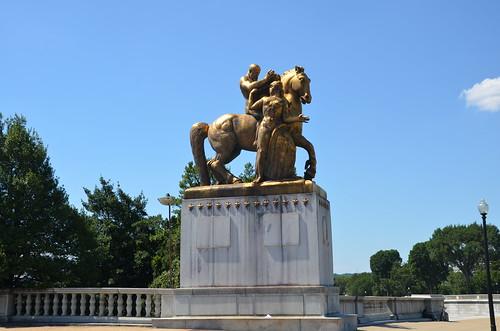 Washington DC Arlington Bridge Equestrian Statue Jul 15