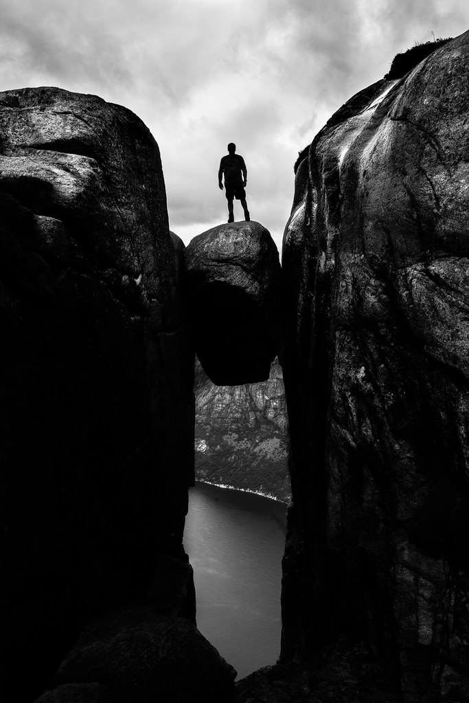 Kjeragbolten - Kjerag, Norway - Black and white street photography