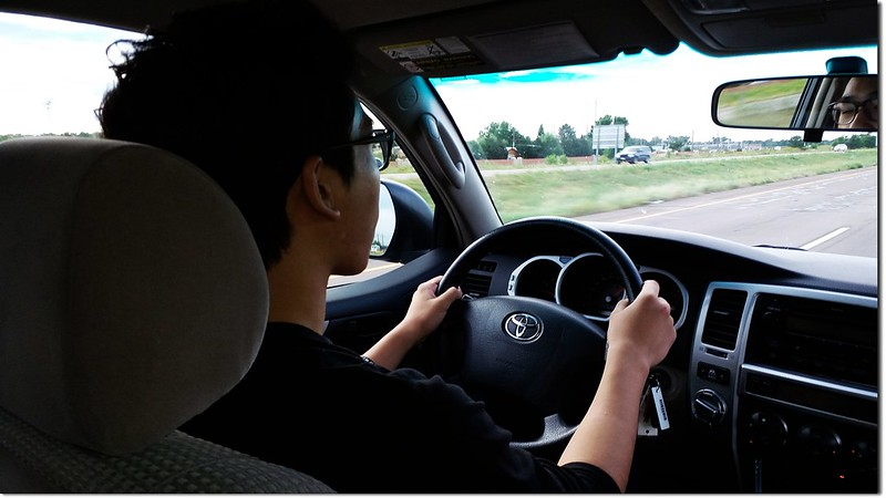 Matthew driving the car