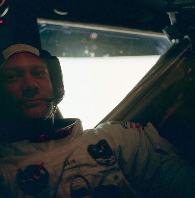 Buzz Aldrin after walking on the moon's surface