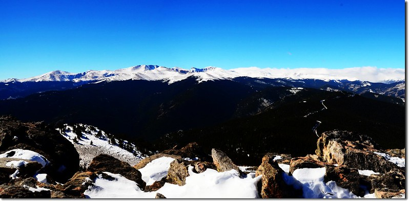 Overlooking southwest onto Mount Evans Massif from the summit of Chief Mountain 1