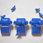 Meagen Svendsen; Bird Calls; Phones, ceramic; 2014; 13x30x8 - Art of the State 2016 at the Arvada Center for the Arts and Humanities