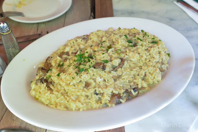 Risotto Mare E Monti simmered carnaroli rice with bay scallops and mushrooms