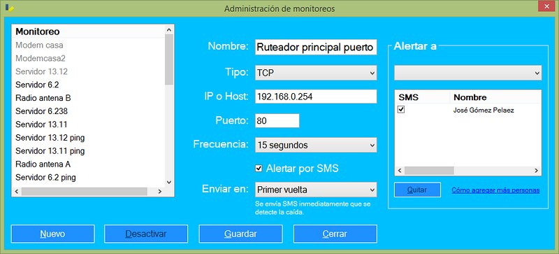 Monitoreo de equipo por puerto TCP 80