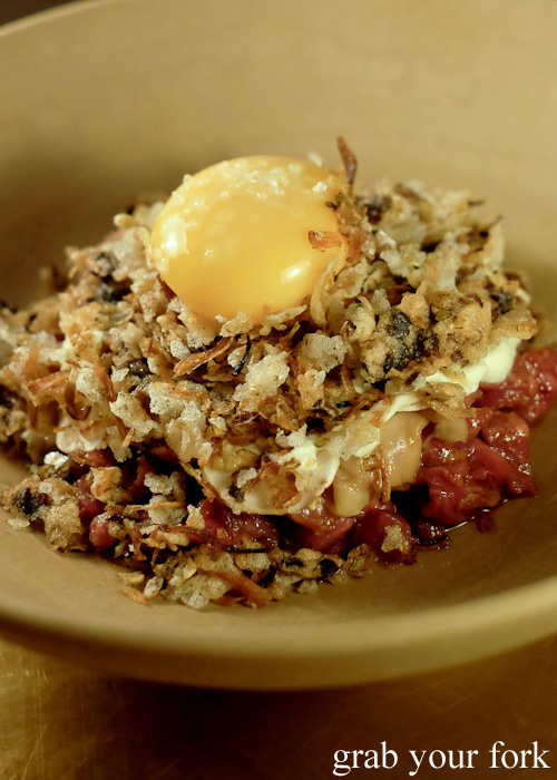 Smoked wagyu tartare at Bennelong Restaurant, Sydney food blog restaurant review