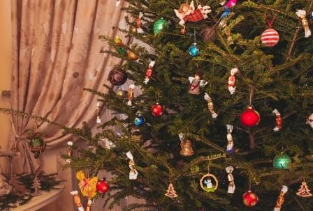 Christmas tree with candies and decor close up