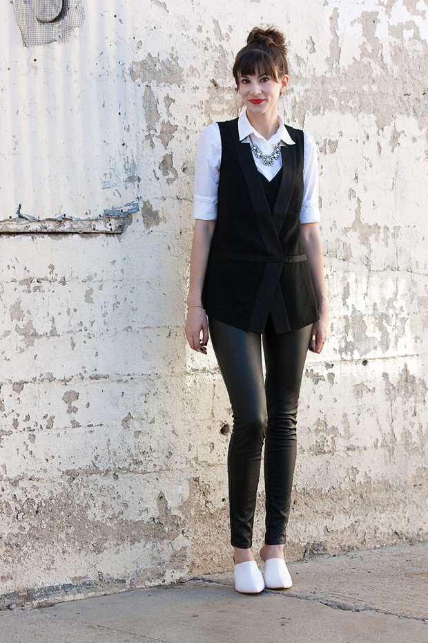 Tuxedo Vest, Black and White Outfit, White Mules
