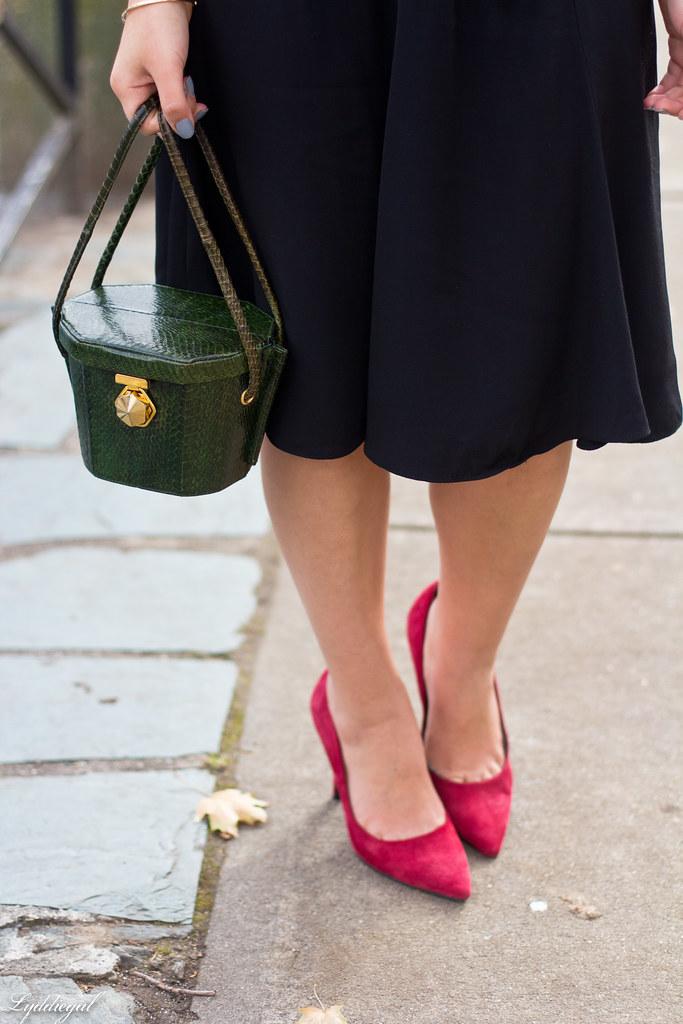 plaid shirt, pearl necklace black midi skirt, red pumps-3.jpg
