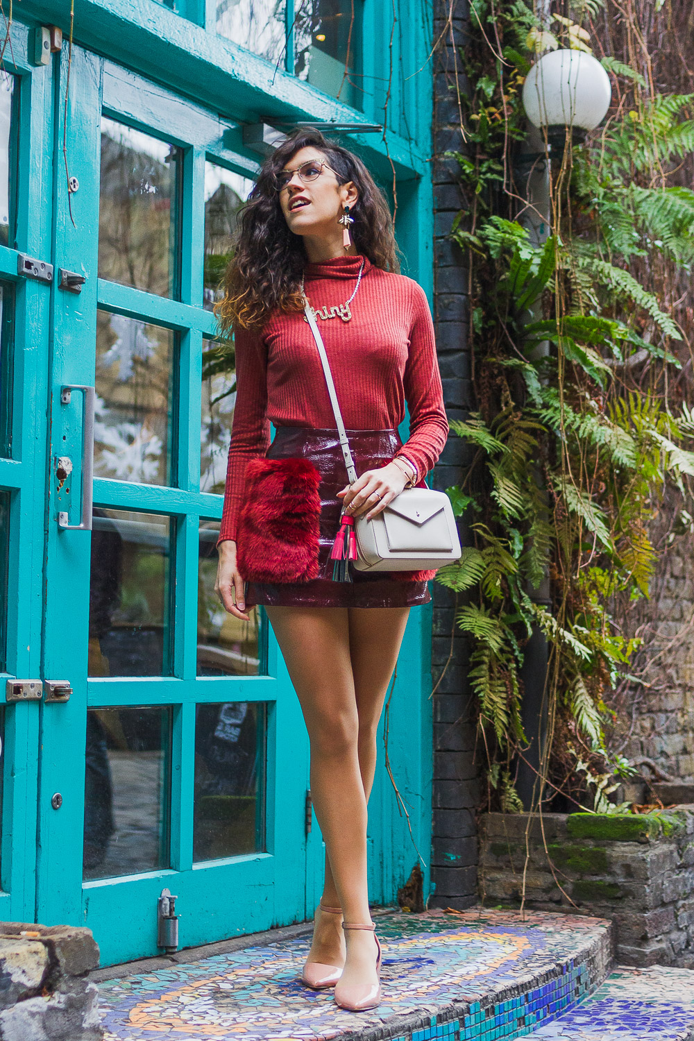 burgundy outfit party night out strongroom bar