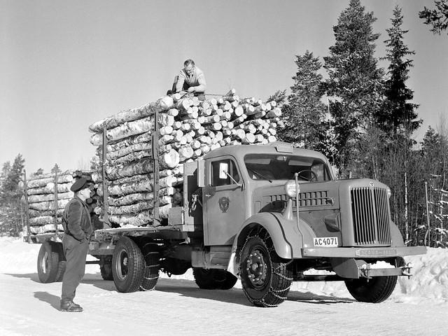 Лесовоз Scania-Vabis L63. 1951 год