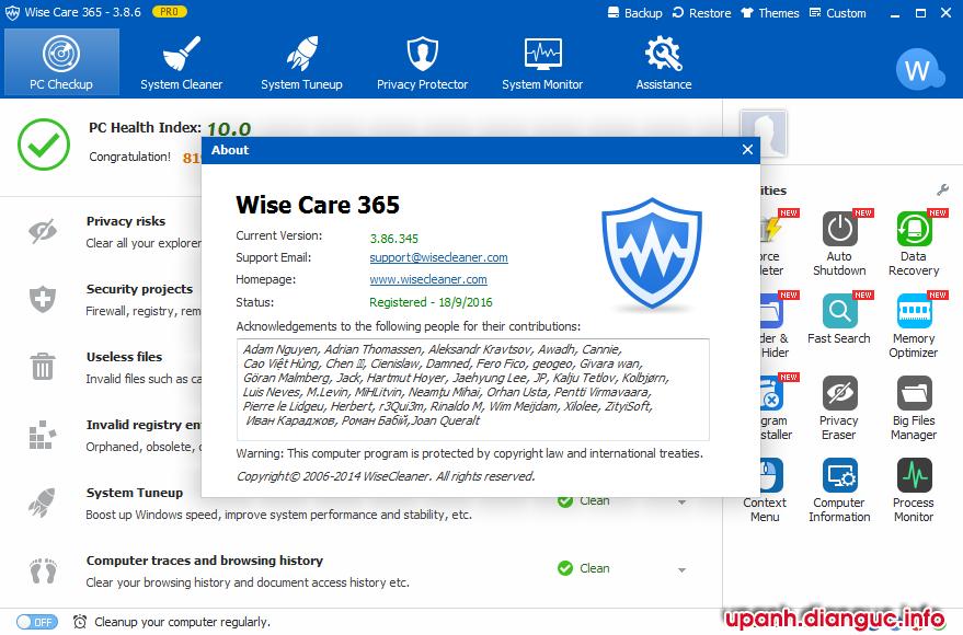Download Wise Care 365 Pro 3.85 full crack - Phần mềm cải thiện hiệu suất máy tính
