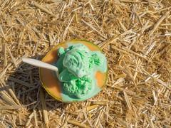 Garlic pistachio ice cream