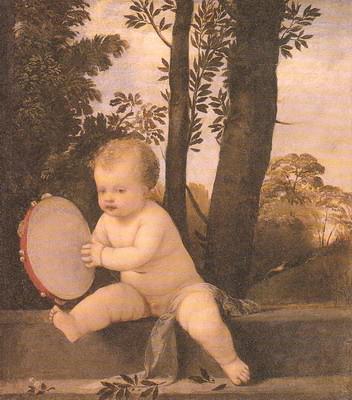 タンバリンを演奏する子ども