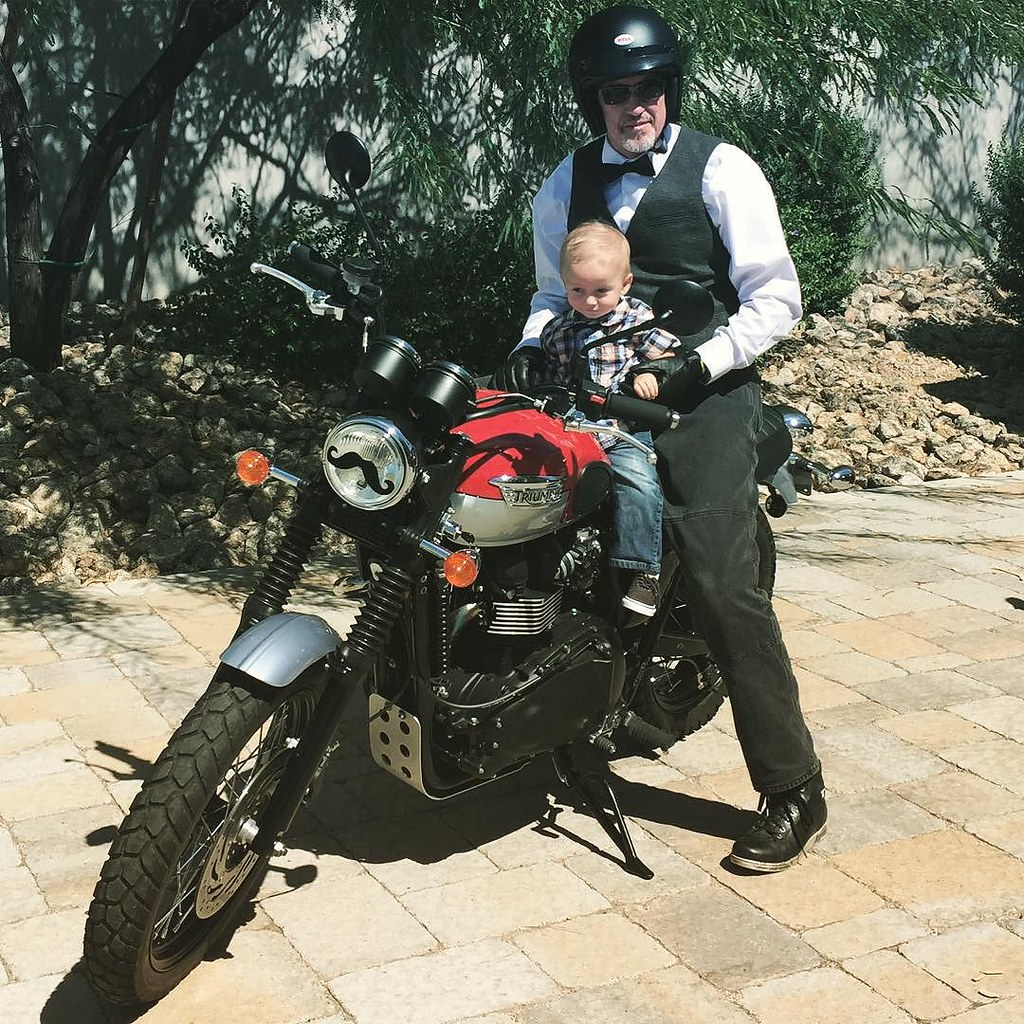 Archer posing with grandpa before his Distinguished Gentleman's Ride to raise awareness for prostate cancer. #BeatCancer by bartlewife