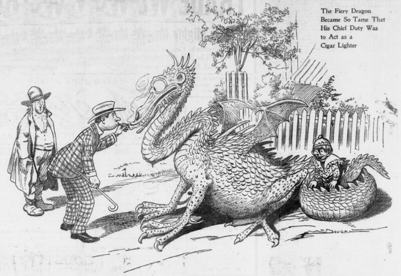 Walt McDougall - The Salt Lake herald., May 08, 1904, Last Edition, The Fiery Dragon Became So Tame That His Chief Duty Was To Act as a Cigar Lighter