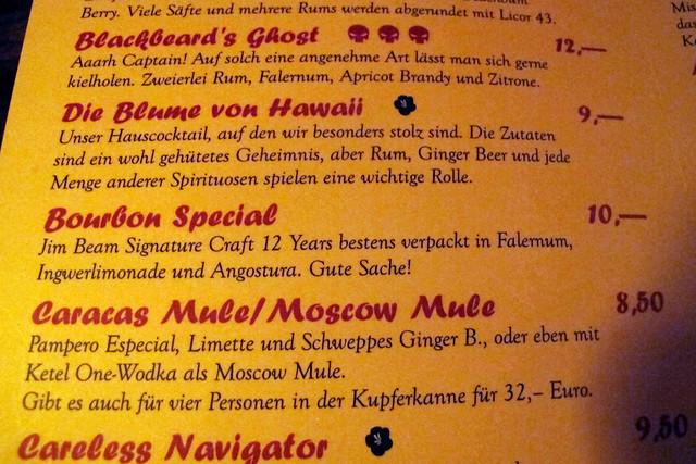 Die Blume von Hawaii menu