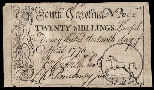 1778 South Carolina 20 Shillings note