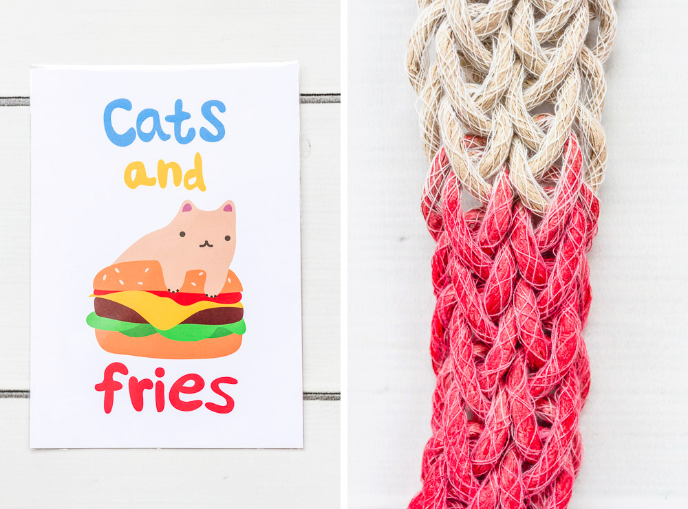 woven dip dye necklace and i like cats poster etsy