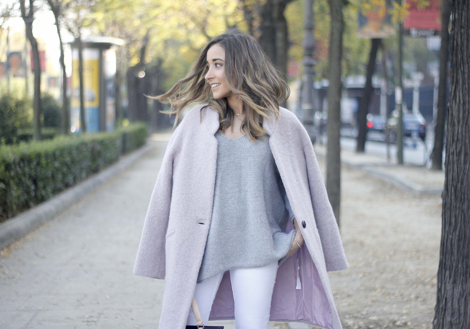 Tintoretto Pink Coat white jeans grey sweater outfit17