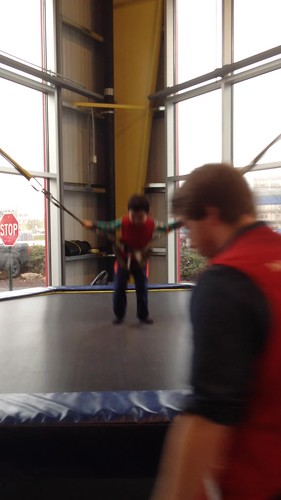 Jumping on trampoline at the Carnegie Science Center Sportsworks