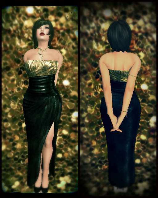 Velvet Gown in Black and Gold from Purple Moon for Peace on Earth 8 Hunt.