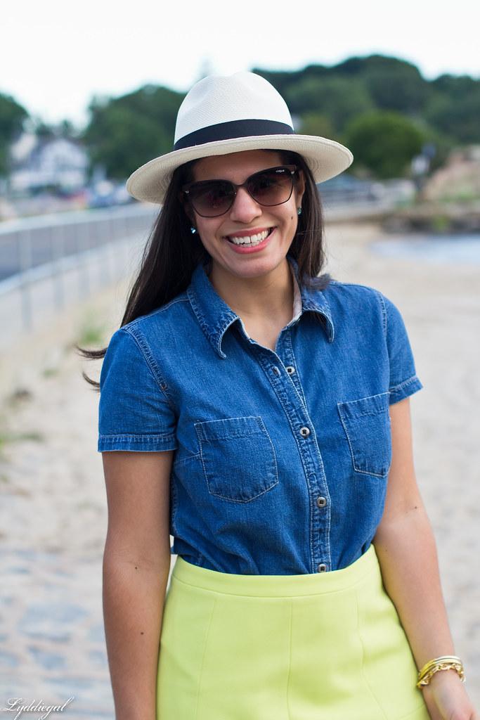 chambray shirt, neon skirt, panama hat-3.jpg