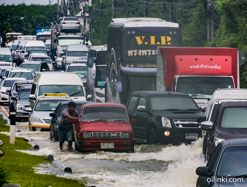 Traffic jams in Phuket due heavy monsoon rains and flooding