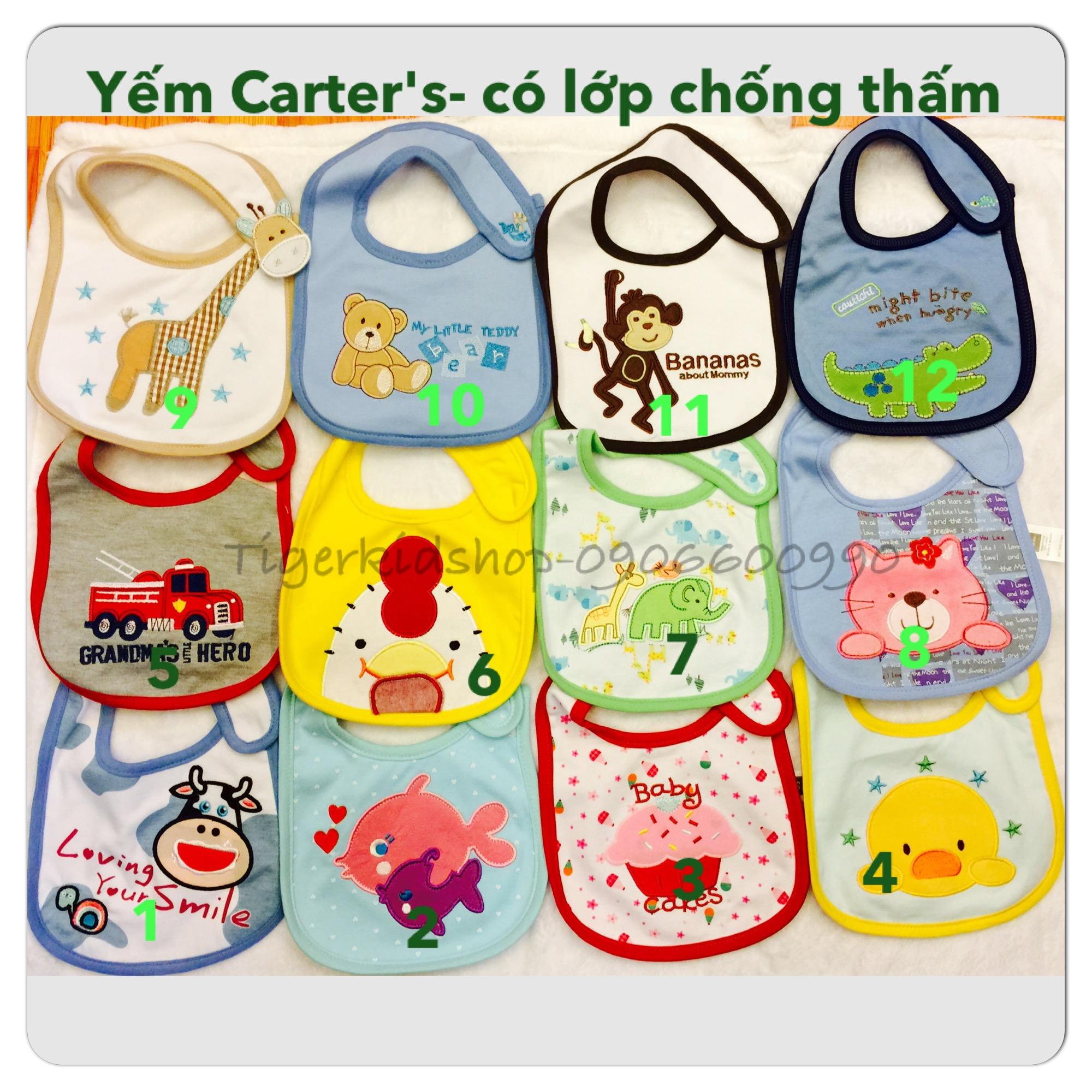 Quần áo trẻ em, bodysuit, Carter, đầm bé gái cao cấp, quần áo trẻ em nhập khẩu, M57-Yếm-Xây Carter's Chống thấm