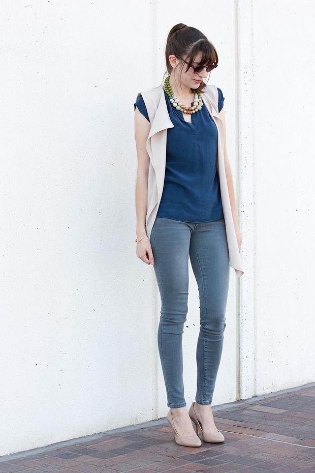 Grey Jeans, Asymmetrical Vest, Blue Silk Shirt