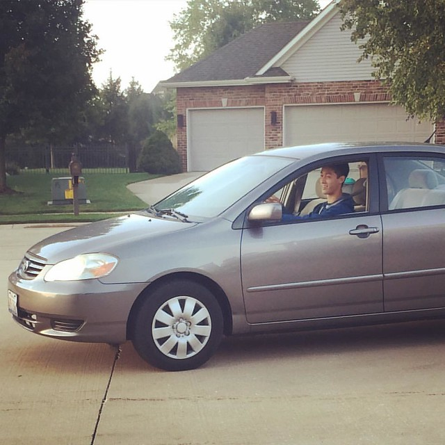 First solo drive to school #theygrowupsofast #watchout