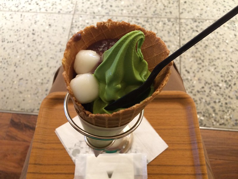 Green tea ice cream with mochi and red bean in a cone!