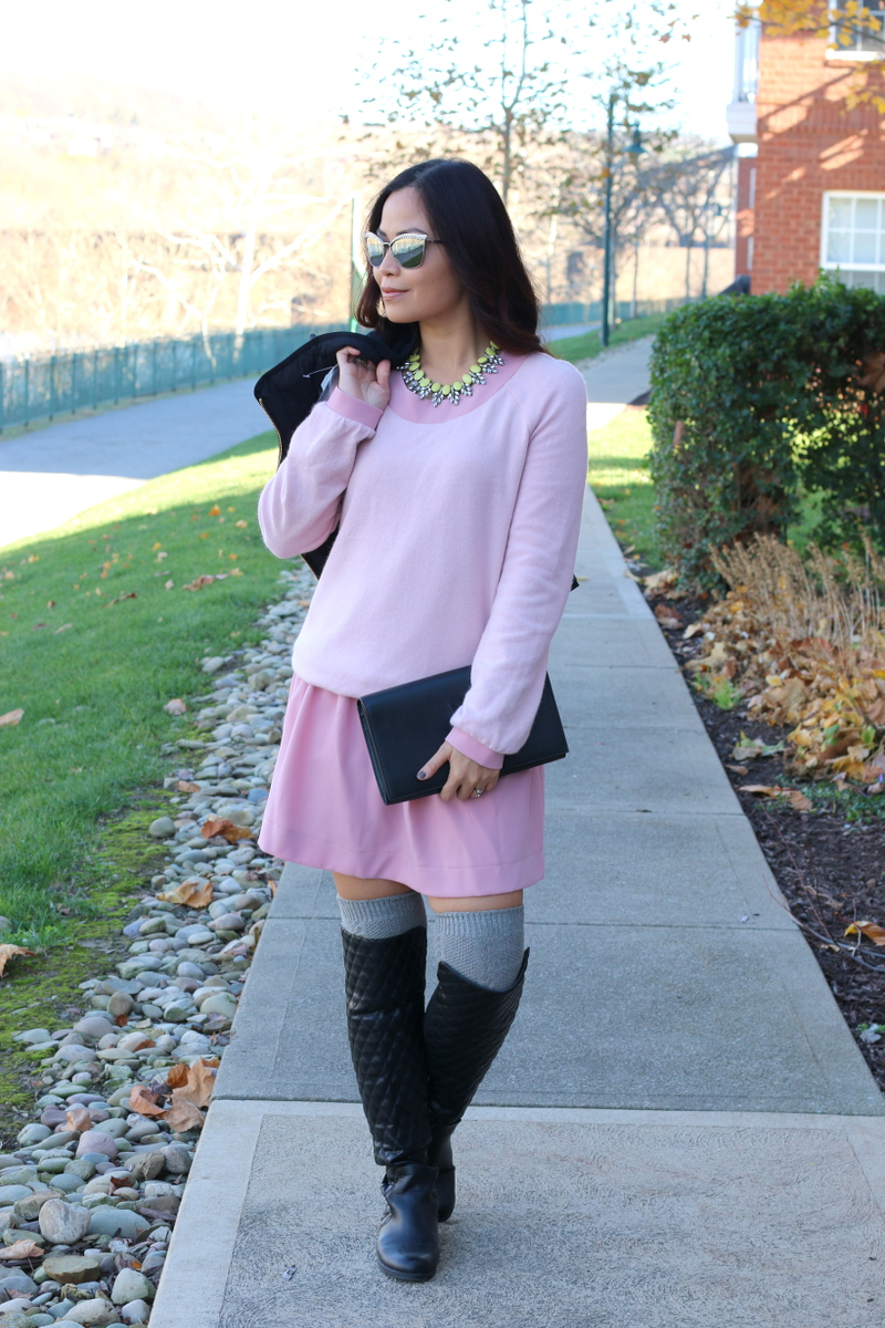 lattori pink dress, over the knee boots