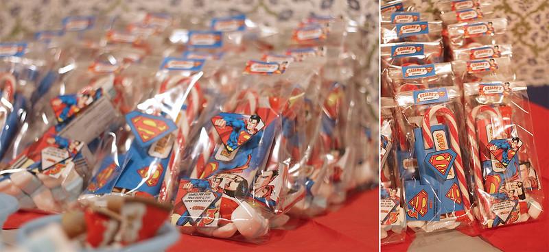 Festa a tema Superman - pacchettini per gli invitati