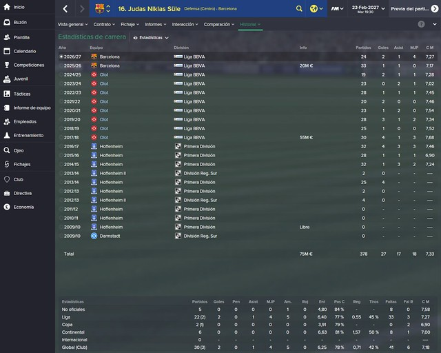 Football Manager: Niklas Süle - UE Olot