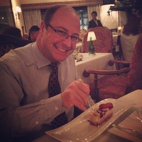 Dan and his dessert at the Waterlot Inn.