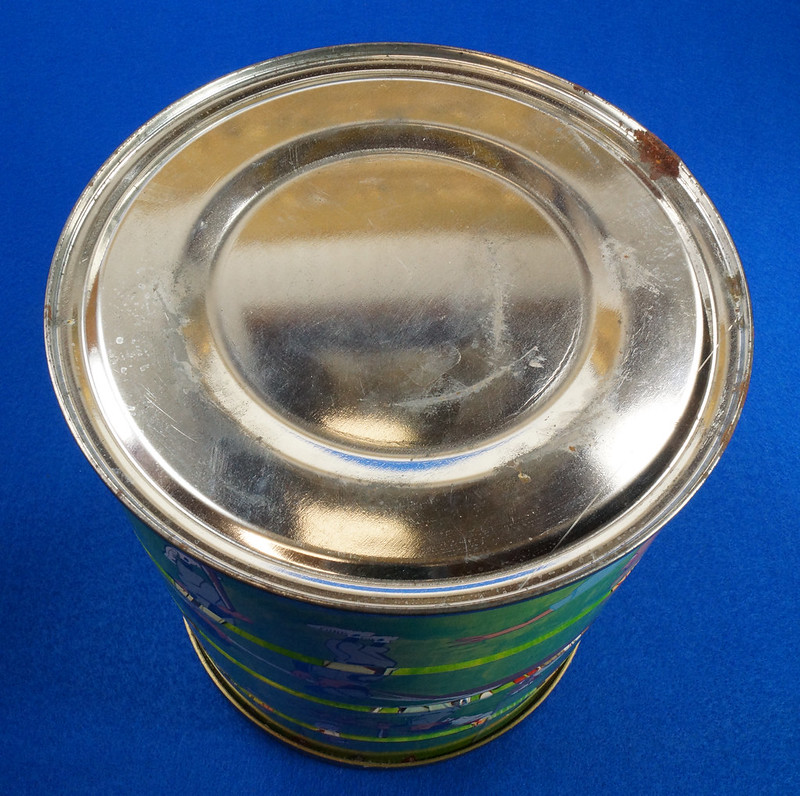 RD14955 Vintage 1966 Butter-Nut 3 lb Coffee Can Youth League Baseball Plastic Lid DSC06649