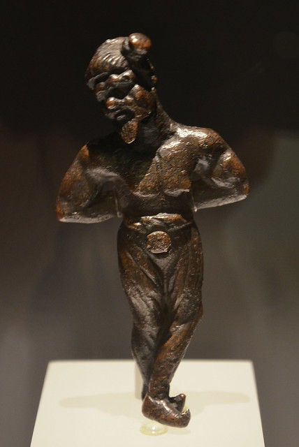 Bronze ornement depicting a chained Germanic, the prisoner wears breeches that were typical of Germanics, his hair is tied in a side knot, 2nd century AD, Römermuseum, Vienna