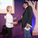 James Tait Black Prizes | Sally Magnusson presents the James Tait Black Prize for Fiction to Zia Haider Rahman for 'In the Light of What We Know' © Alan McCredie