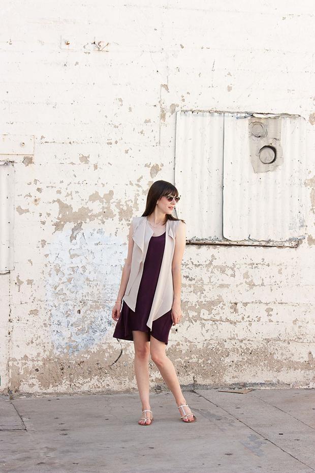 Everlane Silk Dress, Waterfall Vest