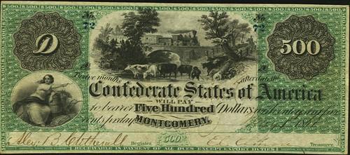 Newman Confederate 1861 $500 Montgomery Note