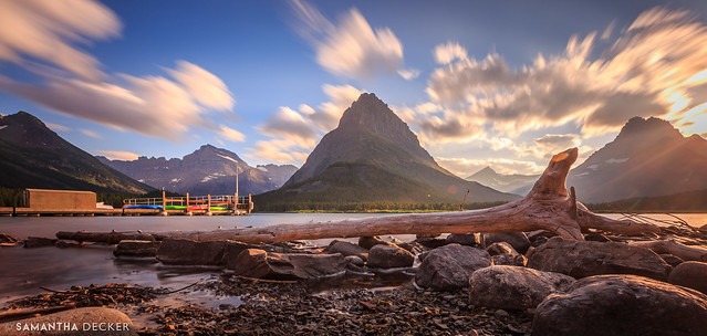 Sunset on Swiftcurrent Lake