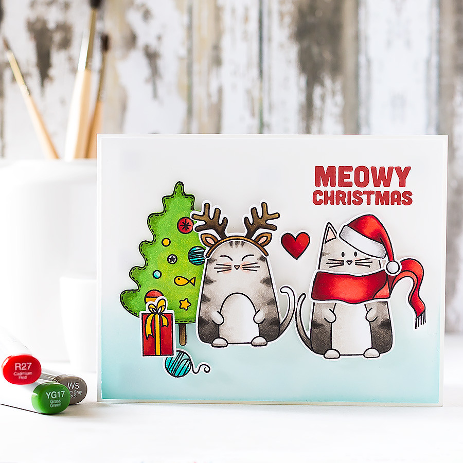 The cutest Christmas kitties from the new October release from Simon Says Stamp! Find out more by clicking on the following link: http://limedoodledesign.com/2015/10/meowy-christmas/