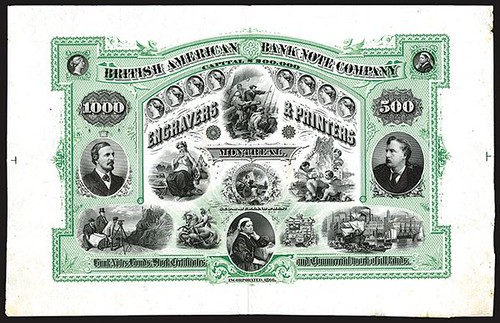 Lot 948 British American Banknote Company sample sheet