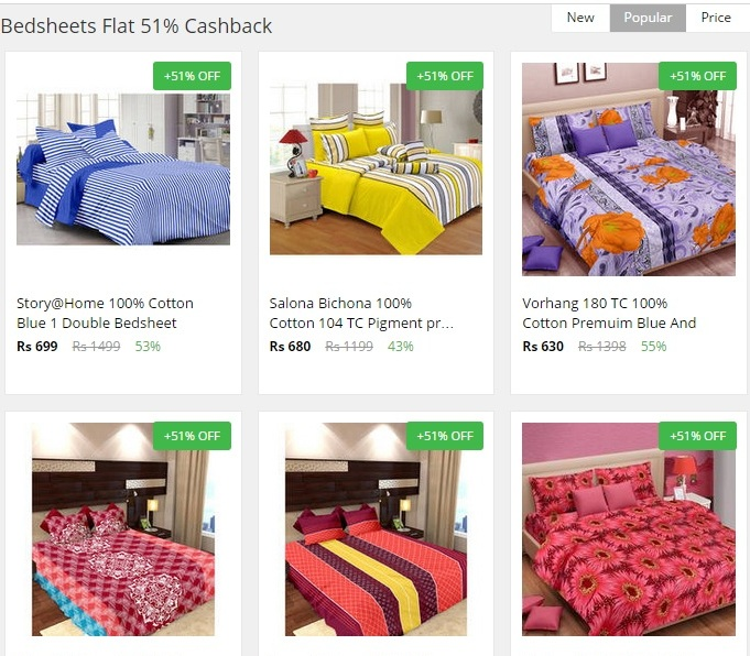 paytm flat 51% cashback october 2015 on bedsheets