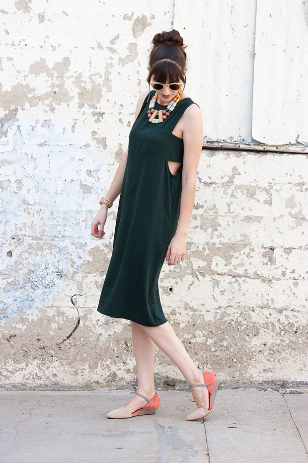 Forever 21 Cut Out Midi Dress, Colorblock Wedges, Statement Necklace