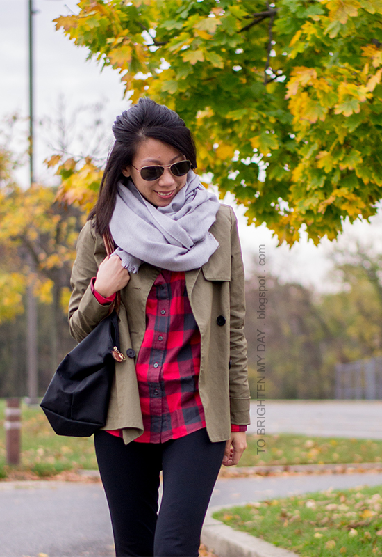 gray scarf, olive green jacket, red buffalo check shirt, black pants