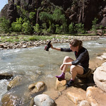 Water removal after Narrows hike, Zion