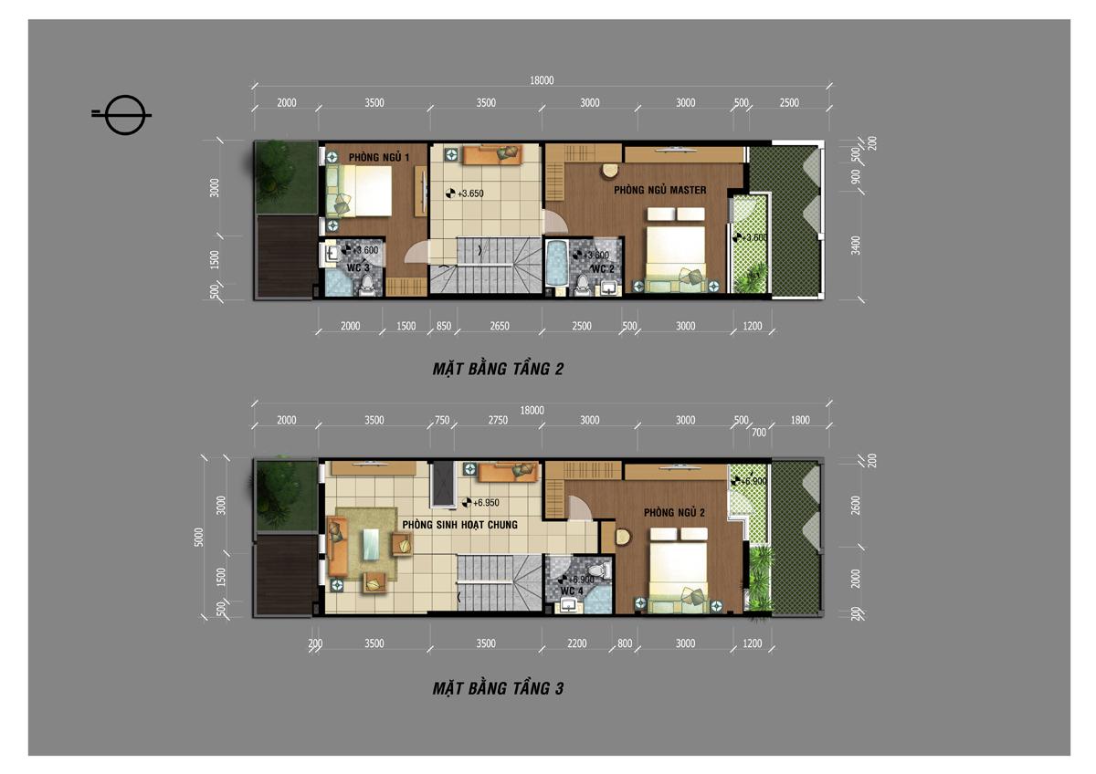 Mặt bằng tầng 2, tầng 3 nhà phố Jamona Golden Silk